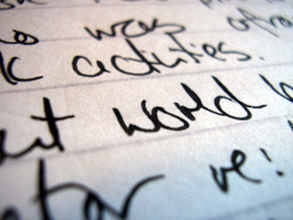 paper with handwriting