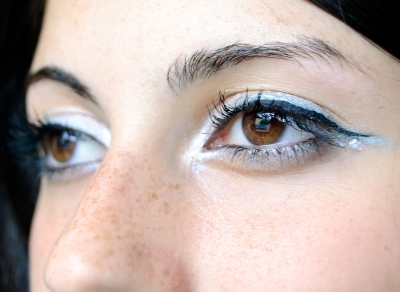 Cat eye make up look on a girl's face