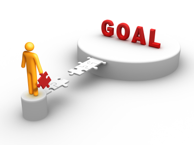 person walking to their goal, puzzle piece, goal
