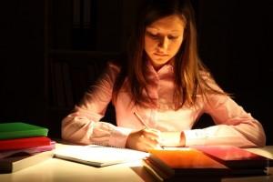 girl studying at desk