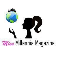 Miss Millennia Magazine logo, female siluette in black throws an earth with a skyline on it in the air