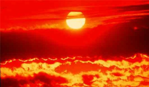 scorching red sunset