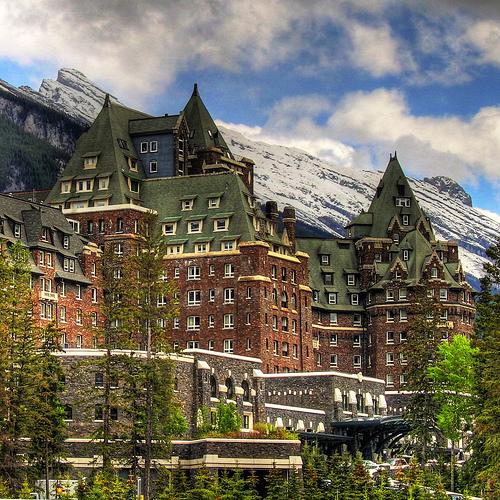 banff, ski getaway , a castle at the mountain base