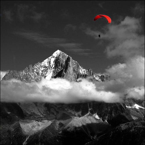 chamonix, ski getaway, ski gliding, red parachute