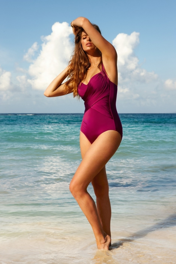 nigella lawson in a purple swimsuit on the beach
