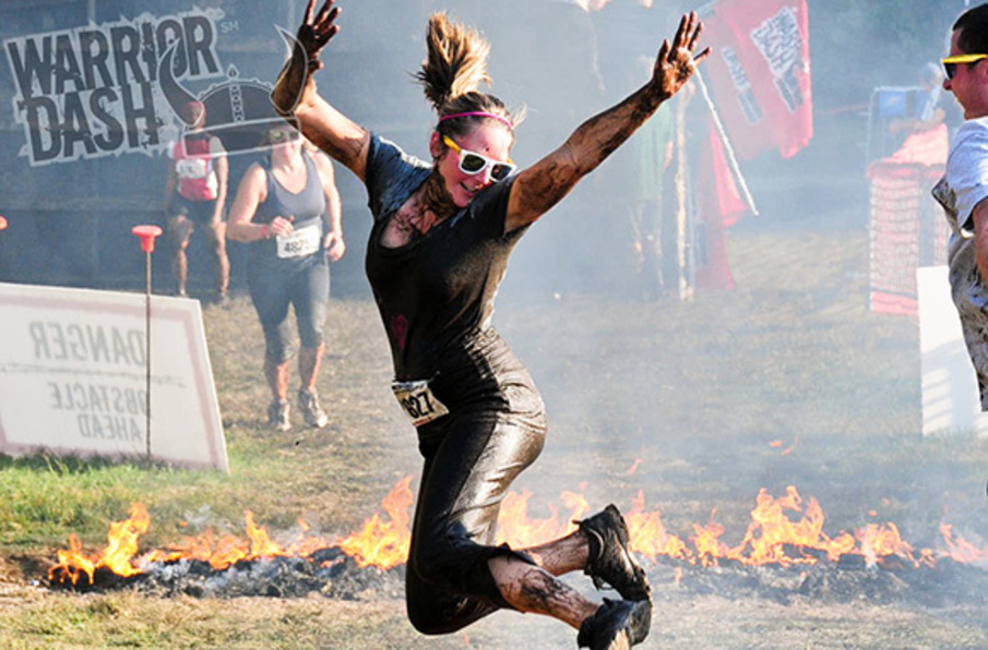 warrior dash race jump over fire