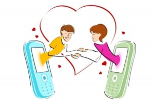 long distance relationship, two cartoon figures coming out of cellphones with a heart as a background