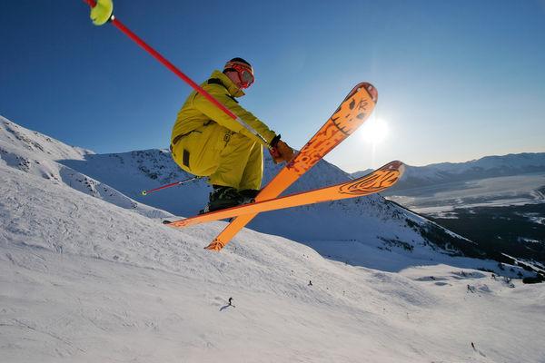 girdwood, ski getaway, a man jumping on skis