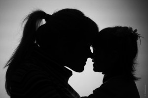 shadow of a mother and her daughter