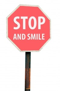 stop sign, stop and smile