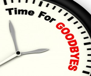 a white clock with time for goodbyes written on it