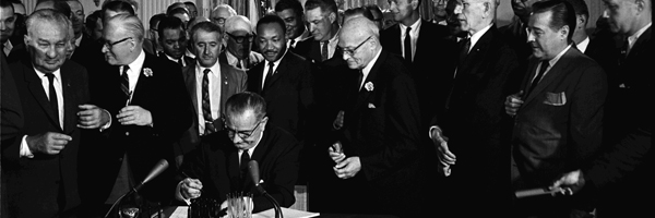 President Johnson signing Civiil Rights Act