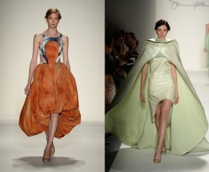 fashion week, runway models, orange dress, green dress, model