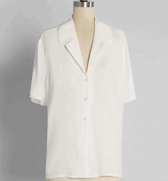 white short sleeved collared shirt