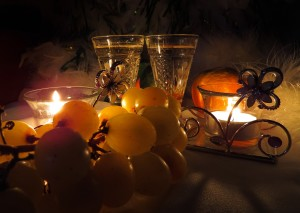 grapes, candels on the table for new year eve