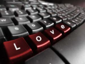 love written on keyboard