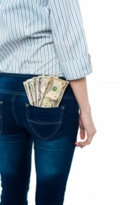 Pants with money in the pocket