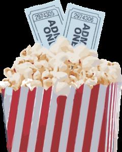 popcorn, movie tickets, theater, movie