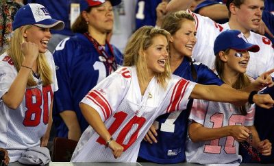 female football fans at game