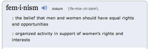 dictionary definition of feminism