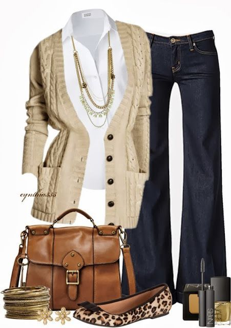 tailored trends A tailored, classic white button-down, a beige sweater, a pair of dark-wash jeans, leopard-print flats, and leather messenger bag.