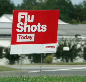 flu shot sign to avoid getting sick