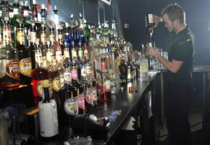 bar tender serving fireball