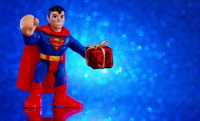 super man holiday gift giver