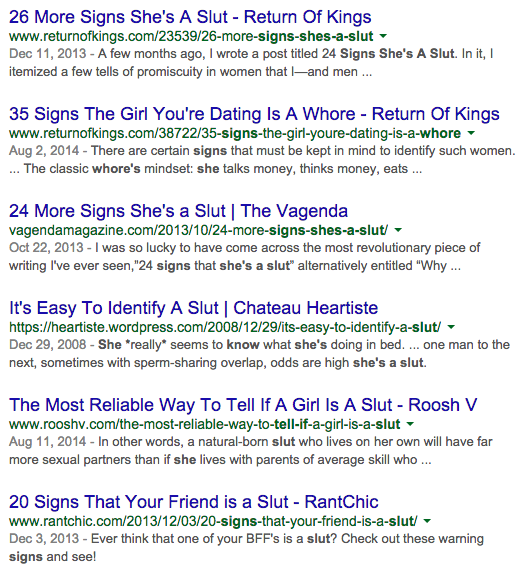 google search for signs of a slut