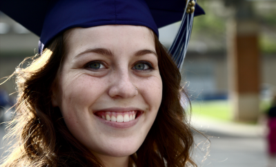 woman graduating and looking forward to a career