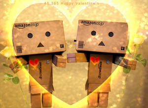 Valentines Day Amazon boxes in love