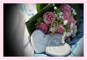 flowers and hearts for wedding