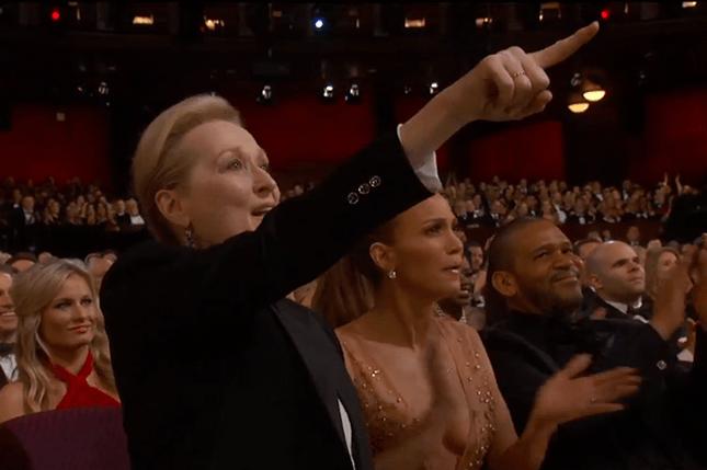 maryl streep and jennifer lopez cheer on patricia arquette during oscar speech