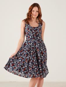 woman in flower pattern dress modeling spring fashion