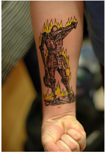 Beautiful tattoos inspired by film and literature for Fahrenheit 451 tattoo