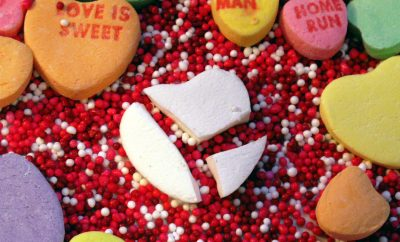 broken candy hearts for Valentine's day