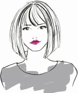 sketch of woman with short, straight hair and bangs
