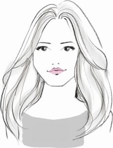 sketch of woman with straight hair