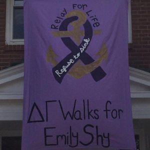 relay for life delta gamma walks for emily shy banner