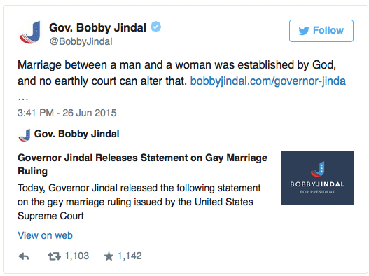 Bobby Jindal on marriage equality