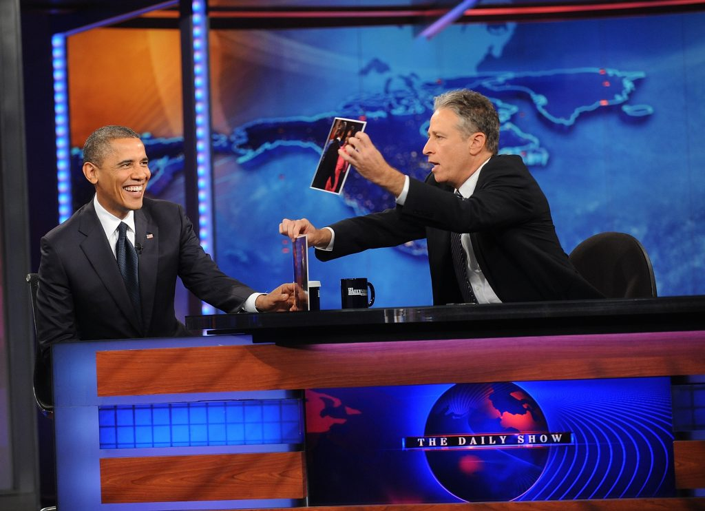 """NEW YORK, NY - OCTOBER 18: U.S President Barack Obama(L) and Jon Stewart attend """"The Daily Show"""" with Jon Stewart at Ensemble Studio Theatre on October 18, 2012 in New York City, New York (Photo by Brad Barket/PictureGroup)"""