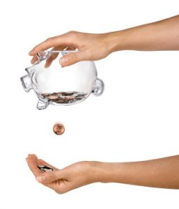 A female depletes what little she has left in her savings.