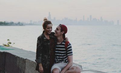 couple dating on bridge