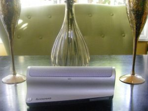 Lenovo™ 500 Bluetooth® Speaker can easily be unplugged and used in the dining room.