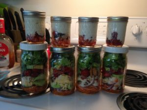 salads in mason jars are great meals on a budget