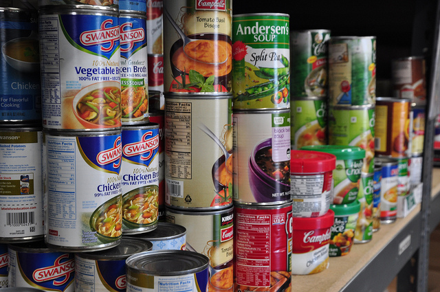 canned goods on shelf