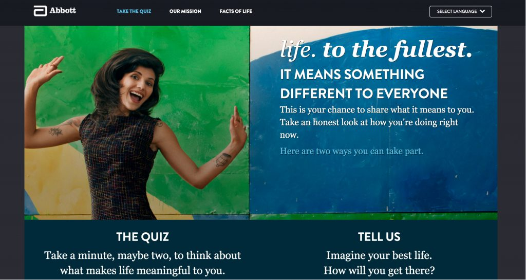 Abbott website to take the quiz or tell us about health