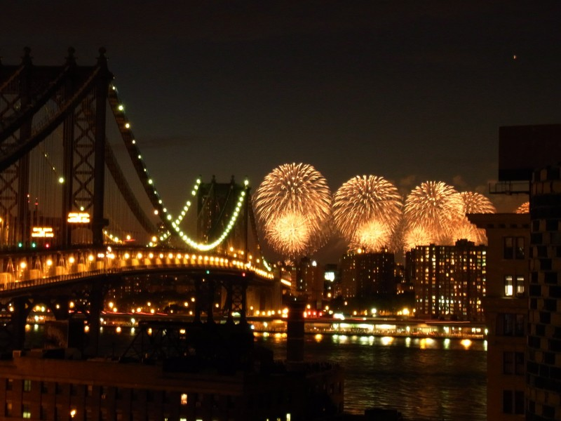 fourth of july fireworks over bridge NYC