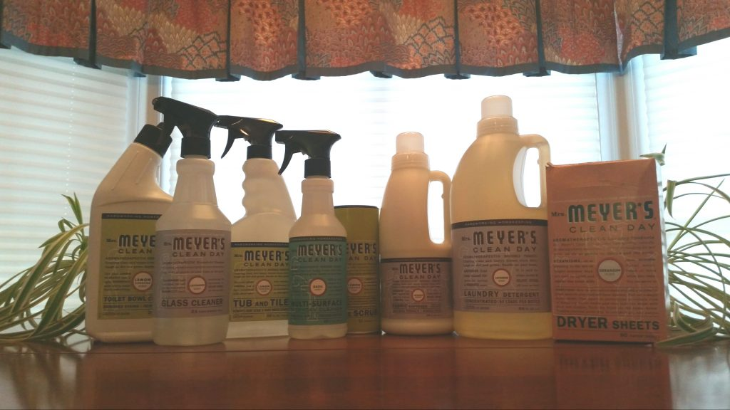 mrs. meyer's clean day products in a kitchen on plant something day