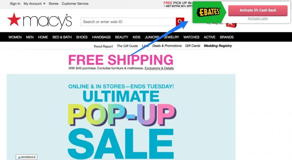 ebates will save you money o various sites